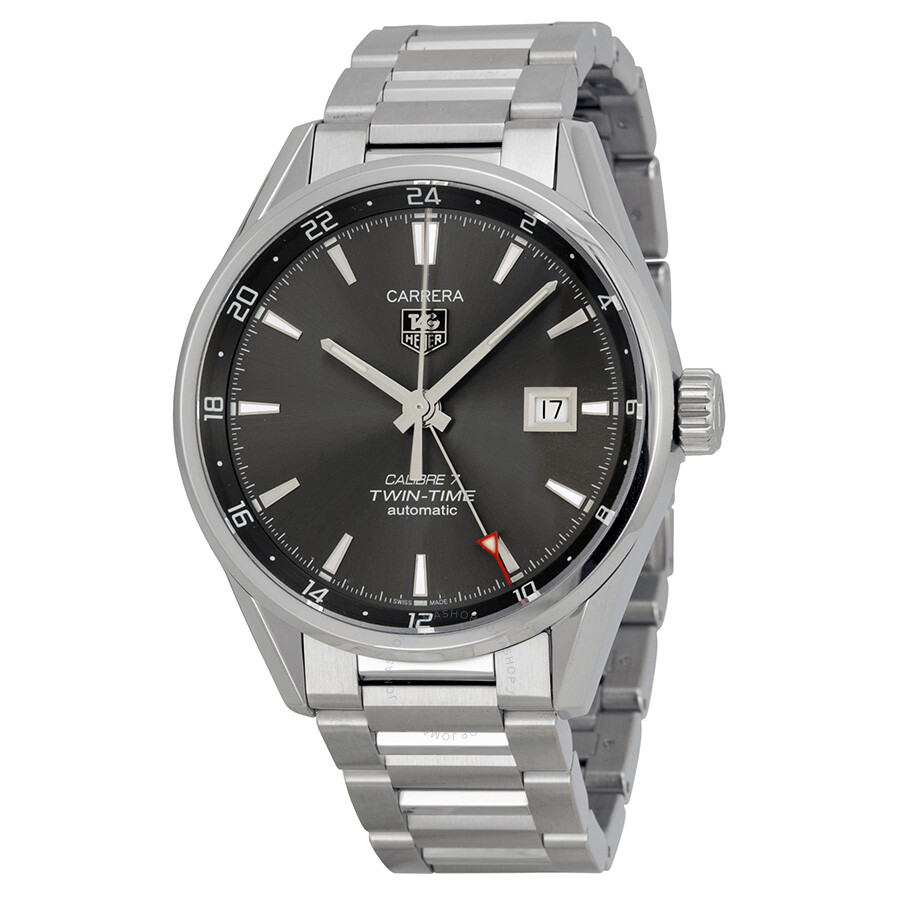 Tag heuer carrera twin time anthracite dial men 39 s watch war2012 ba0723 carrera tag heuer for Tag heuer carrera
