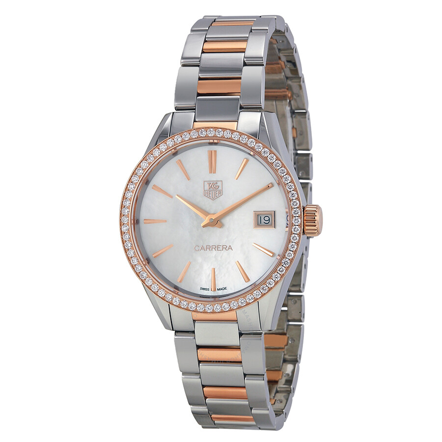 e462def0d6df Tag Heuer Carrera White Mother of Pearl Dial Stainless Steel and 18kt Rose  Gold Ladies Watch ...