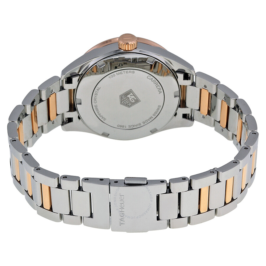 Carrera White Mother of Pearl Dial Stainless Steel and 18kt Rose Gold Ladies Watch WAR1353.BD0774