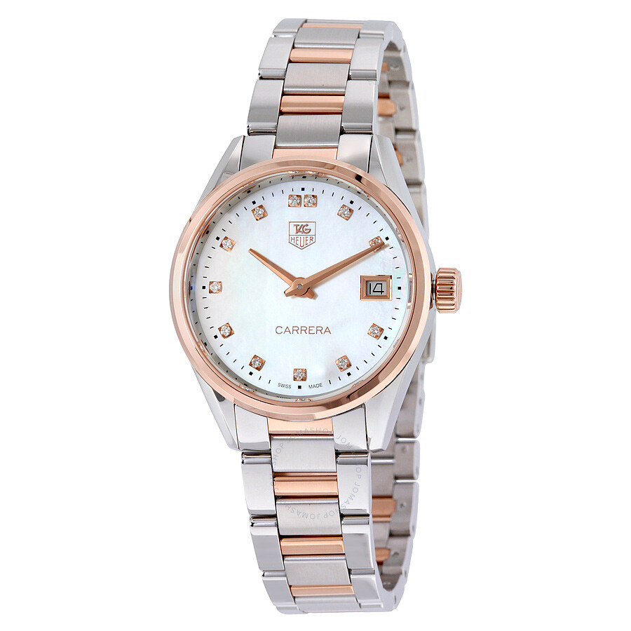 Tag heuer carrera mother of pearl dial ladies watch war1352 bd0779 carrera tag heuer for Tag heuer women