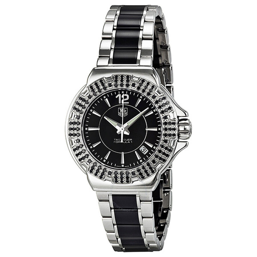 9d7652f39b7 Tag Heuer F1 Black Dial Steel and Ceramic Black Diamond Bezel Ladies Watch  WAH1216.