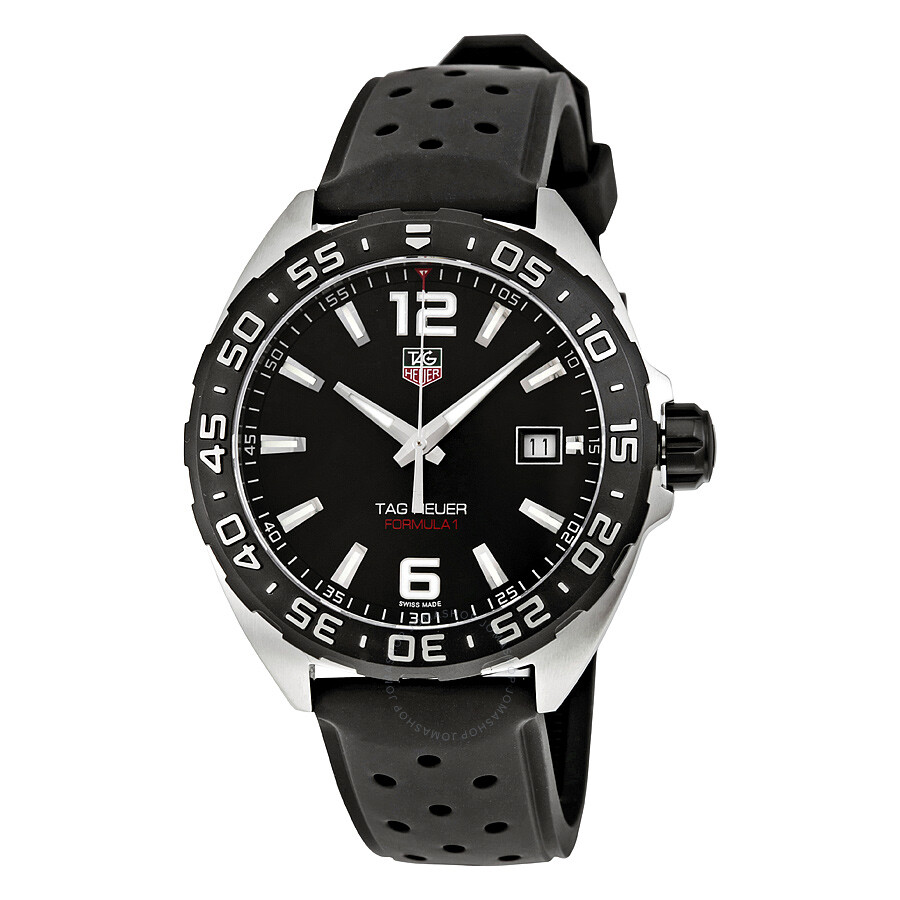 tag heuer formula 1 black dial black rubber men 39 s watch. Black Bedroom Furniture Sets. Home Design Ideas