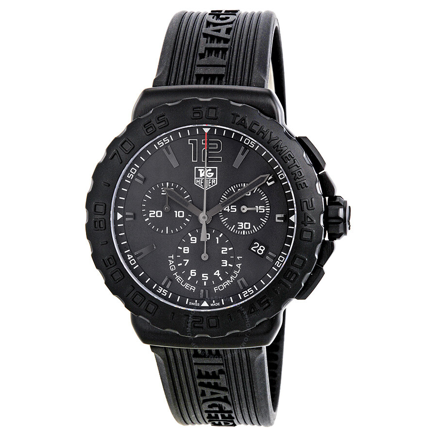 44594deef64 Tag Heuer Formula 1 Black Dial Black Rubber Men s Watch CAU1114 ...