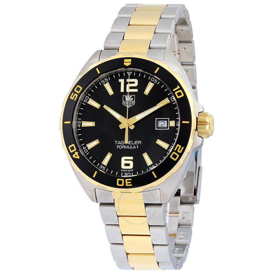 tag heuer formula 1 black dial two tone men 39 s watch. Black Bedroom Furniture Sets. Home Design Ideas