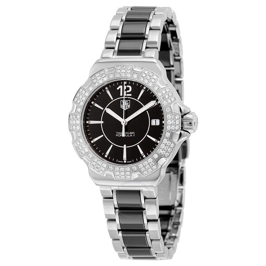 b0031494e95 Tag Heuer Formula 1 Black Diamond Dial Stainless Steel Black Ceramic Ladies  Watch WAH1217.