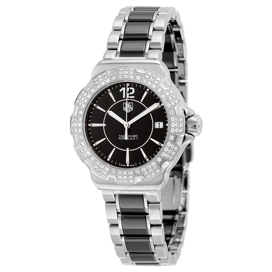 51789db3c83 Tag Heuer Formula 1 Black Diamond Dial Stainless Steel Black Ceramic Ladies  Watch WAH1217.
