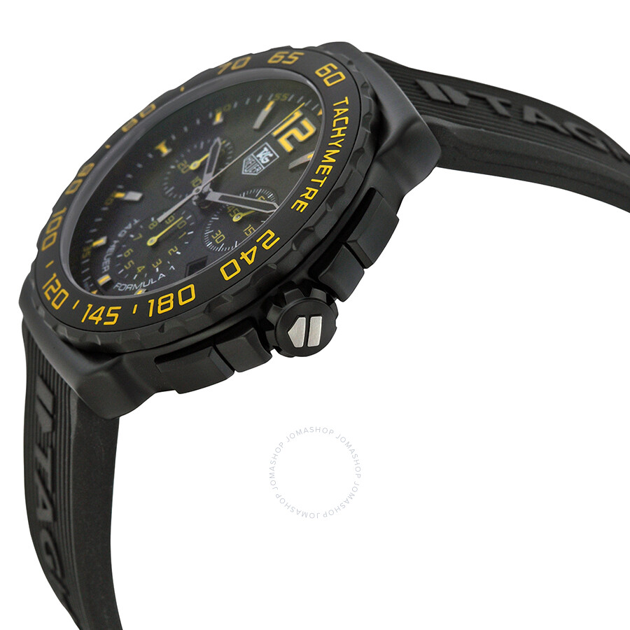 3d4bb3e6ca0 Tag Heuer Formula 1 Chronograph Black and Yellow Dial Black Rubber Men s  Watch CAU111EFT6024
