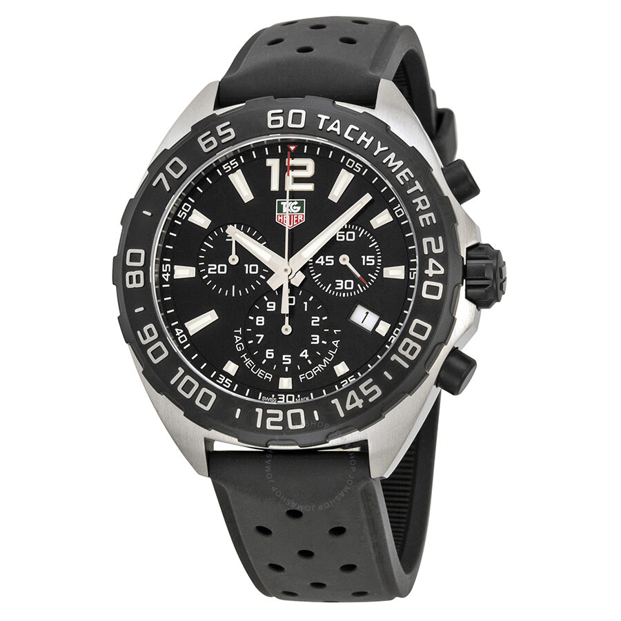 8127e85b6463 Tag Heuer Formula 1 Chronograph Black Dial Black Rubber Men s Watch CAZ1110.