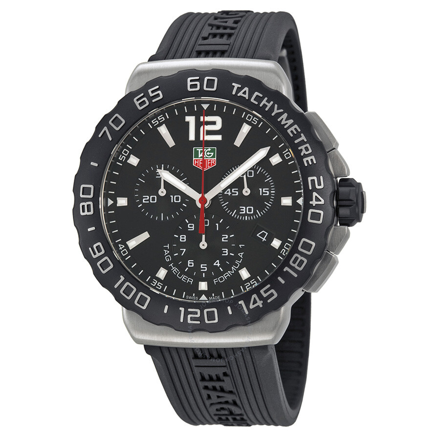 tag heuer formula 1 chronograph black rubber men 39 s watch. Black Bedroom Furniture Sets. Home Design Ideas