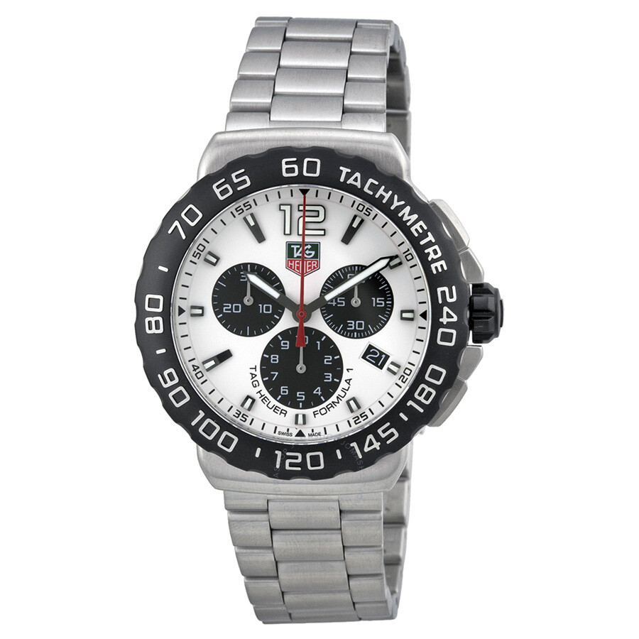 tag heuer formula 1 chronograph white dial stainless steel. Black Bedroom Furniture Sets. Home Design Ideas