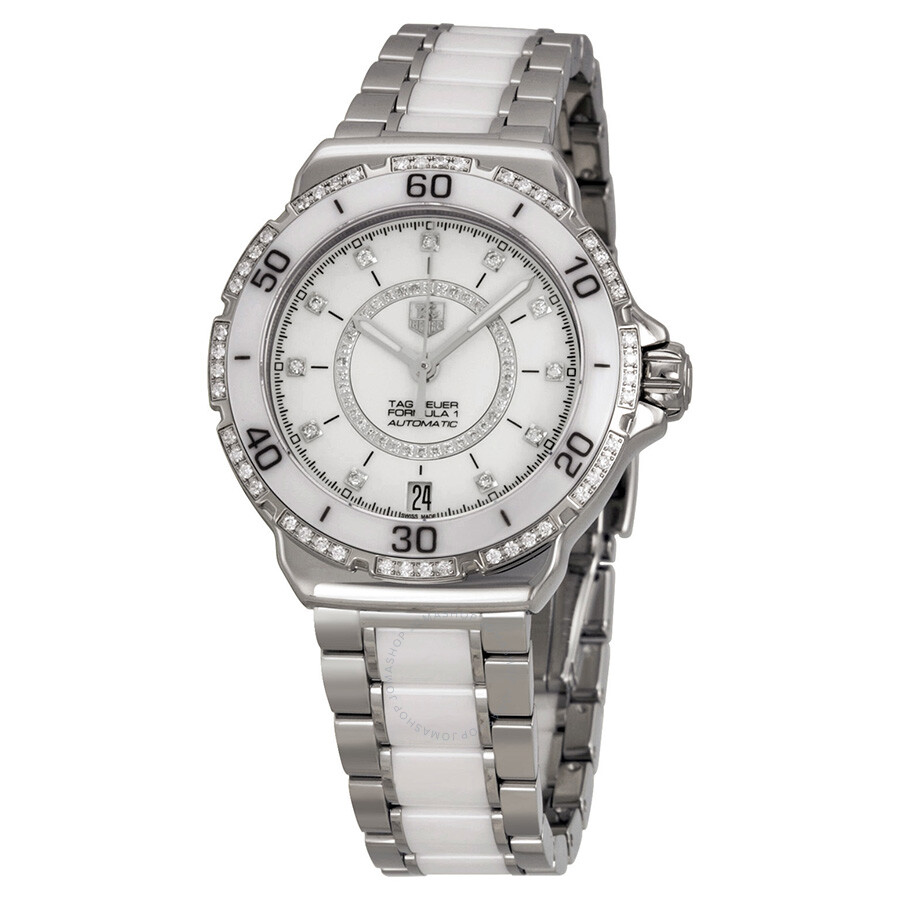 Tag heuer formula 1 diamond automatic steel and white ceramic ladies watch wau2213 ba0861 for Tag heuer women