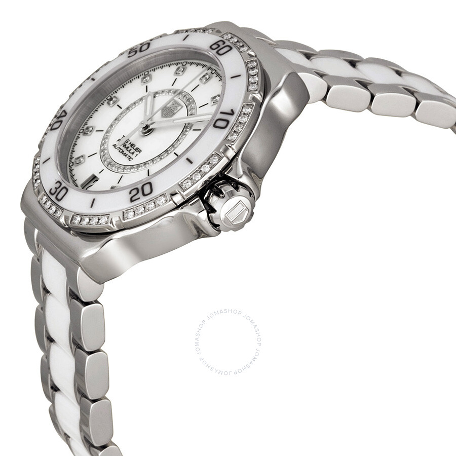 e4ee00264982 BA0861 Tag Heuer Formula 1 Diamond Automatic Steel and White Ceramic Ladies  Watch WAU2213.
