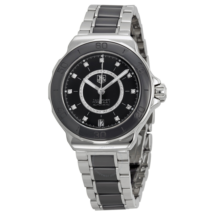 da1b8aa13b3 Tag Heuer Formula 1 Diamond Steel and Black Ceramic Ladies Watch WAU2210.