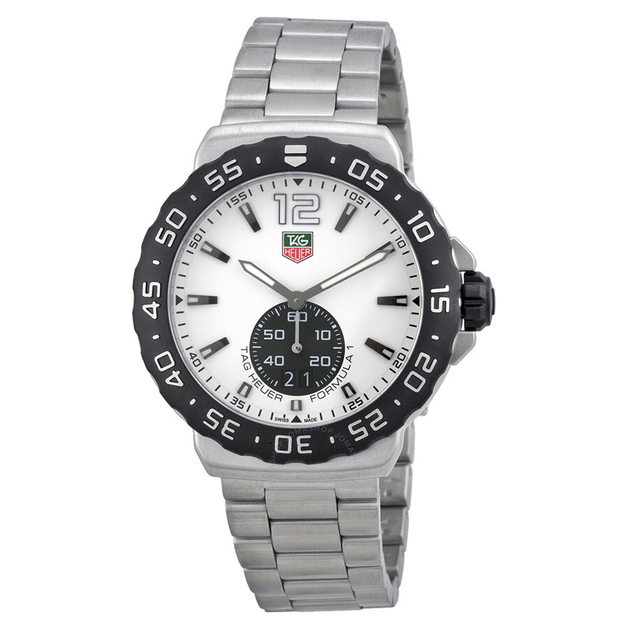 Tag heuer formula 1 grande date white dial stainless steel men 39 s watch wau1111 ba0858 formula for Tag heuer discount