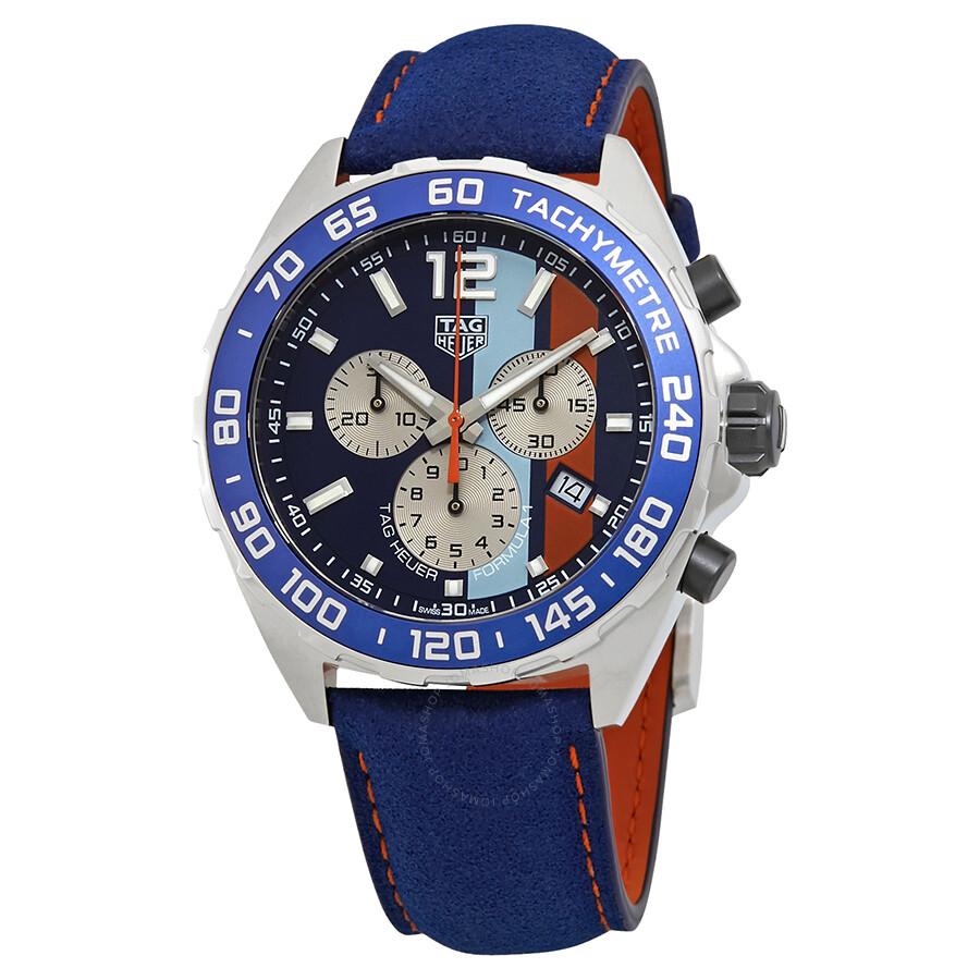 Tag Heuer Formula 1 Gulf Special Edition Chronograph Blue/Aqua/Orange Dial  Men's Watch CAZ101N FC8243