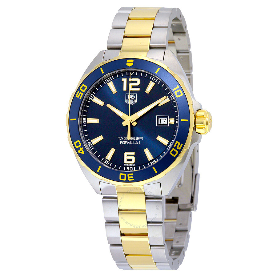 tag heuer formula 1 navy blue dial two tone men 39 s watch. Black Bedroom Furniture Sets. Home Design Ideas