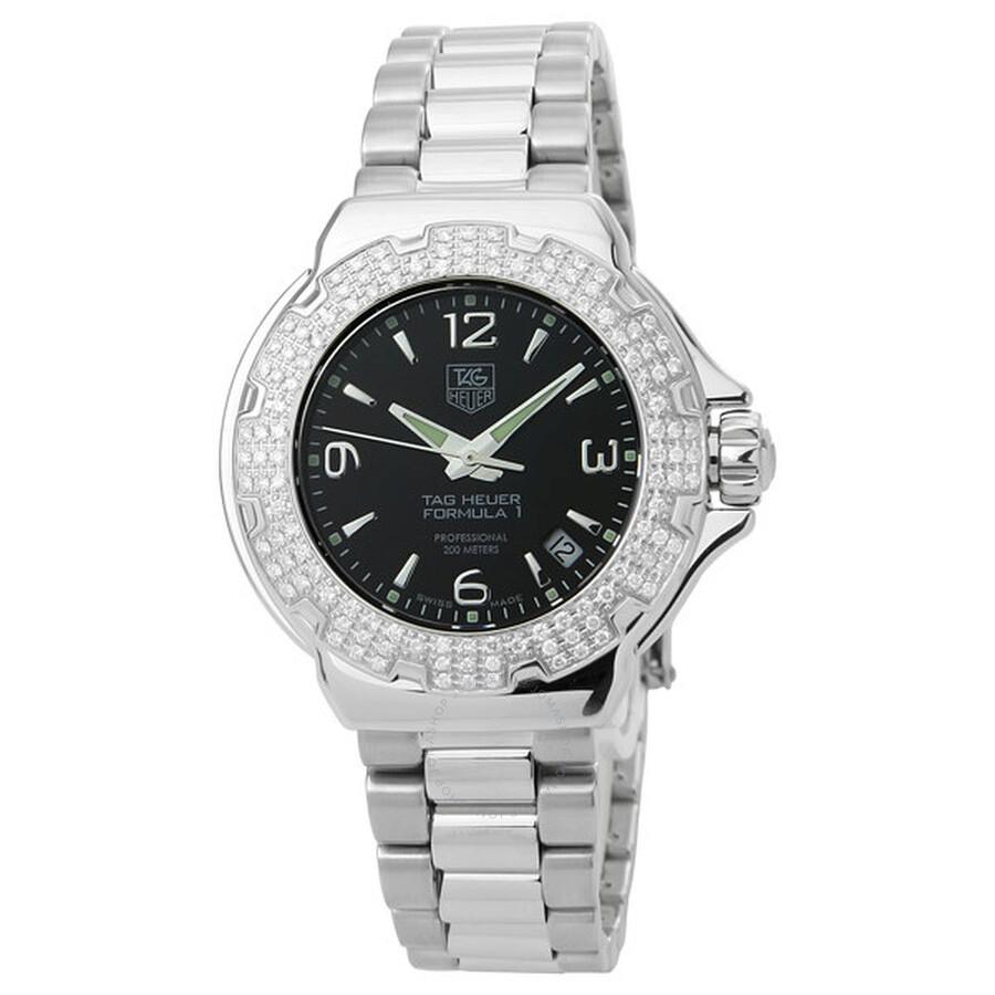 5a499ea8c71 Tag Heuer Formula One F1 Diamond Black Ladies Watch WAC1214.BA0852 ...