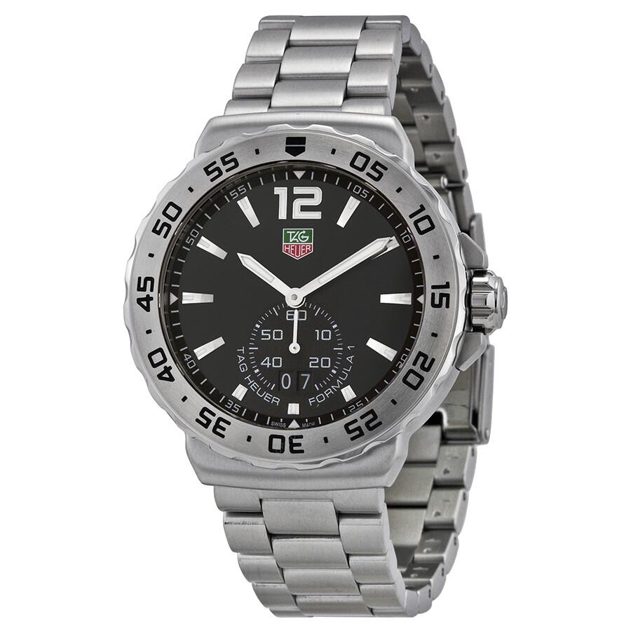 tag heuer formula one grande date black dial stainless steel men 39 s watch wau1112 ba0858. Black Bedroom Furniture Sets. Home Design Ideas