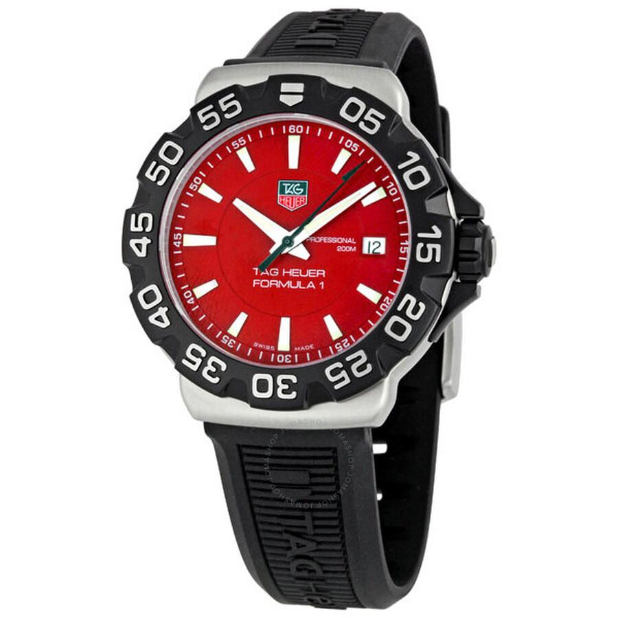 6ef2646fbaa Tag Heuer Formula One Steel Red Black Rubber Men s Watch WAH1112 ...