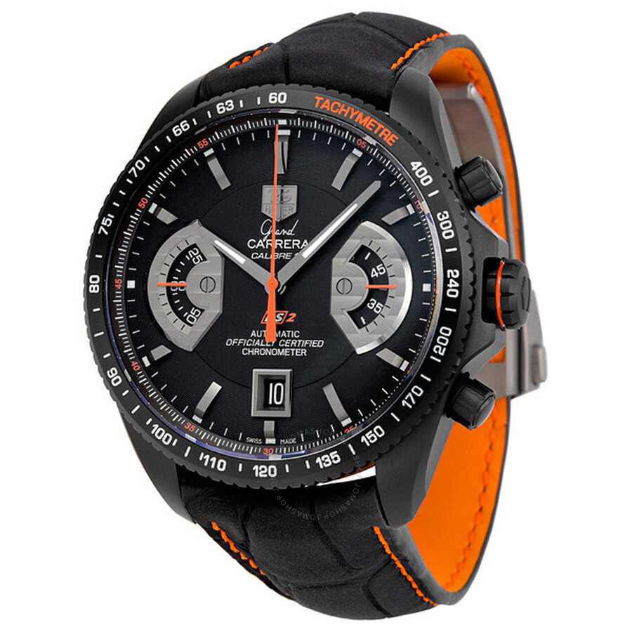 8955abf2ac45 Tag Heuer Grand Carrera Black Dial Leather Automatic Chronograph Men s Watch  CAV518K.