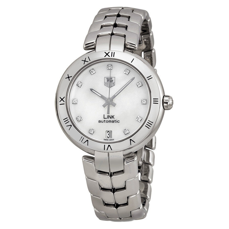 Tag heuer link lady automatic diamond mother of pearl dial stainless steel ladies watch wat2315 for Tag heuer women