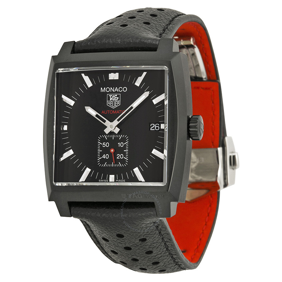 c250b618810bd Tag Heuer Monaco Automatic Black Dial Black Leather Men s Watch  WW2119FC6338 Item No. WW2119.FC6338