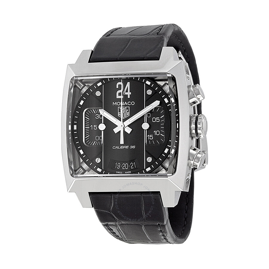 tag heuer monaco chronograph black dial black leather men. Black Bedroom Furniture Sets. Home Design Ideas