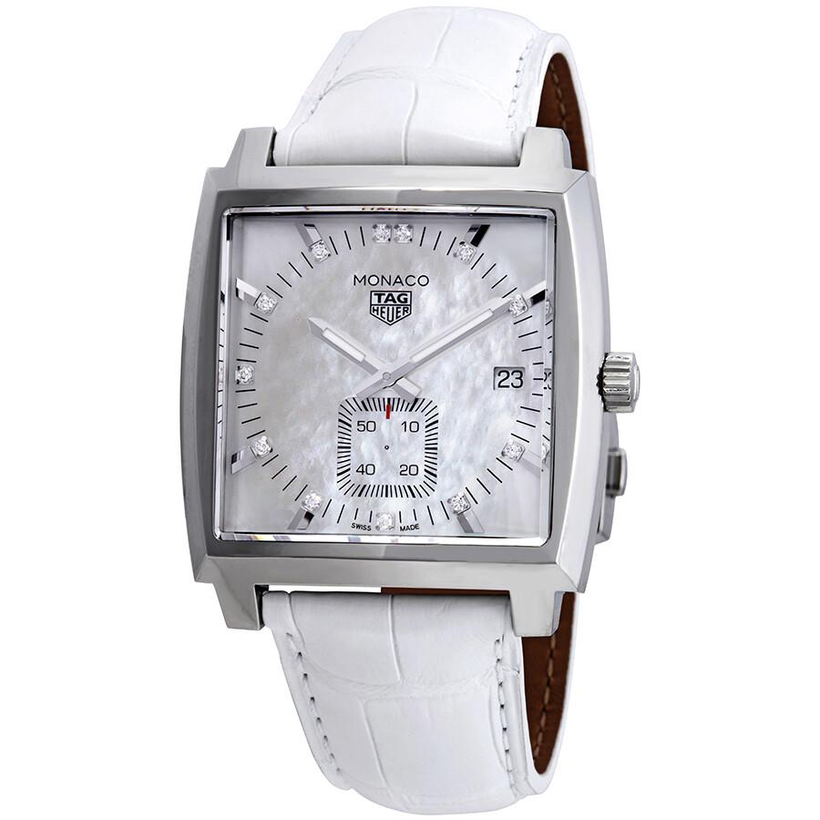 60d86423622fd Tag Heuer Monaco Mother of Pearl Diamond Dial Men s Watch WAW131B ...