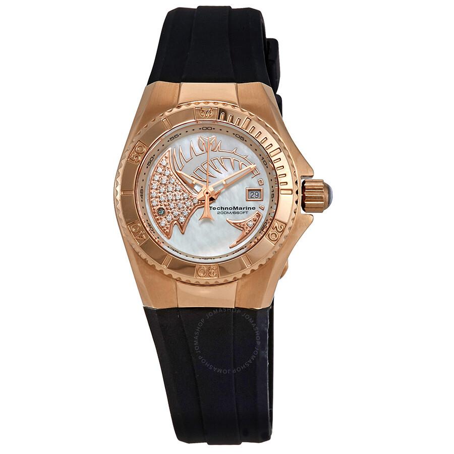 Technomarine Cruise Dream Black Silicone Strap White Dial Las Watch 115257