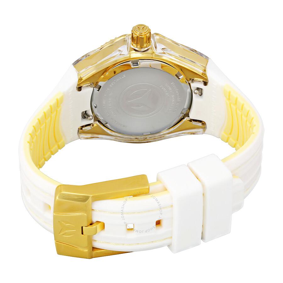 technomarine cruise monogram gold dial ladies watch 115156 - cruise monogram