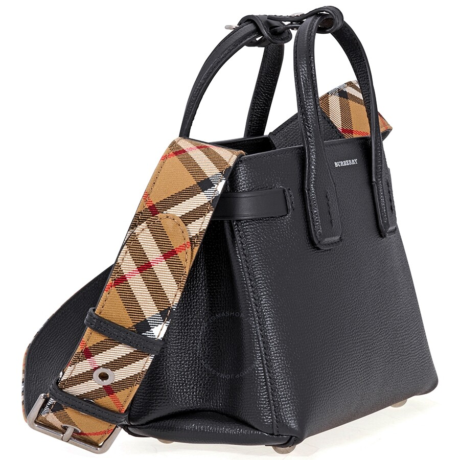 The Baby Banner in Leather and Vintage Check- Black - Burberry ... 1882e30ba45b3