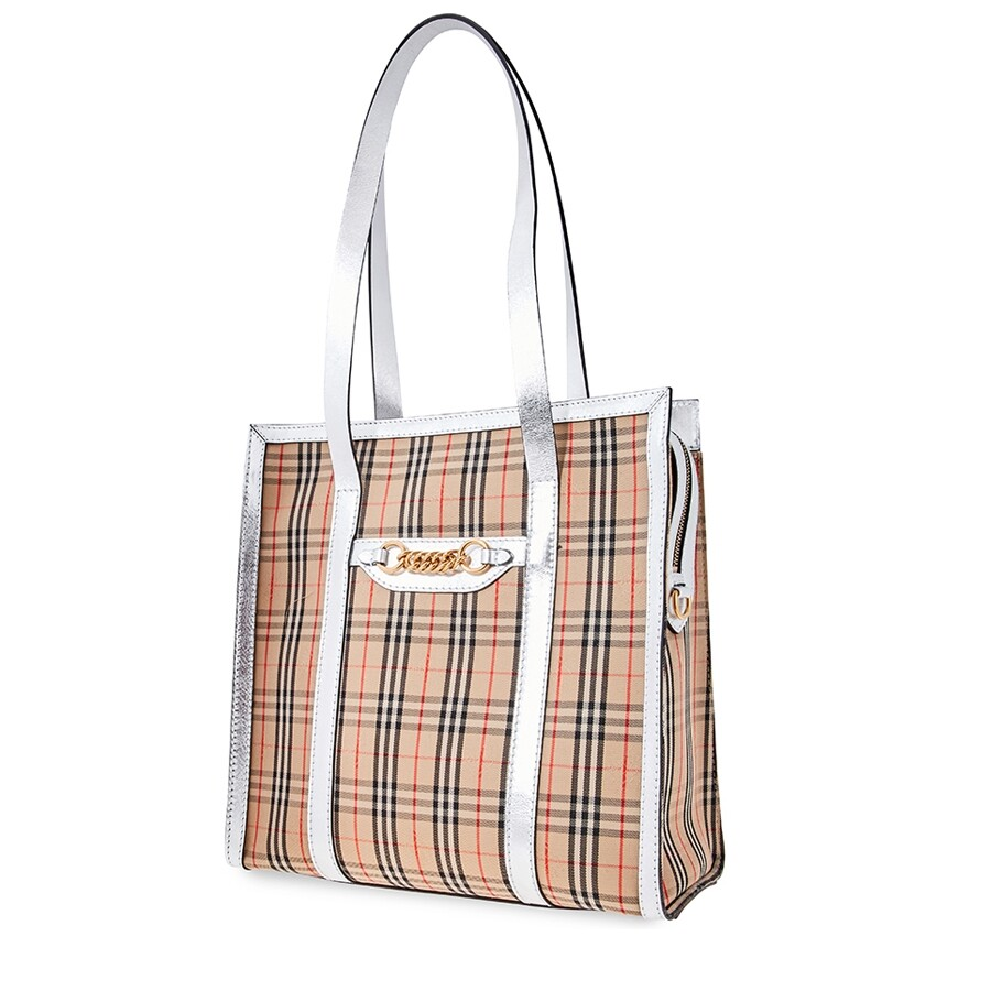 The Small 1983 Check Link Tote Bag Silver
