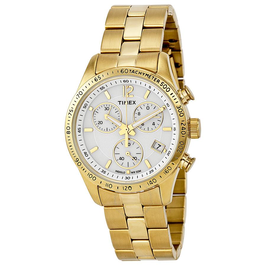 timex ameritus chronograph white gold tone