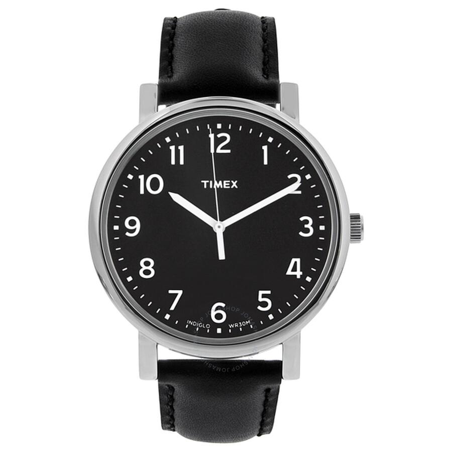 86f2cec4246aa Timex Easy Reader Black Dial Black Leather Men s Watch T2N339 ...