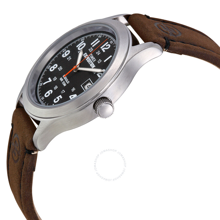 bbd8c8cda ... Timex Expedition Metal Field Black Dial Brown Leather Strap Men's Watch  T49954 ...