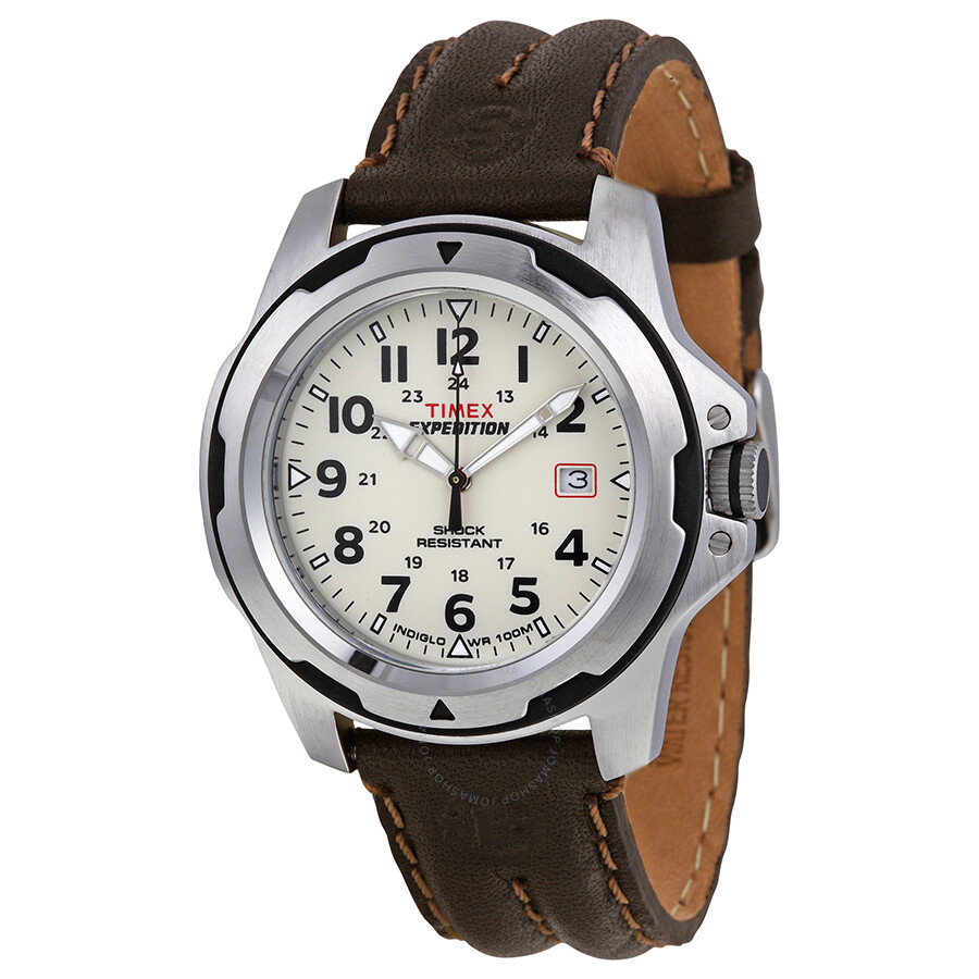 timex expedition rugged field beige brown leather