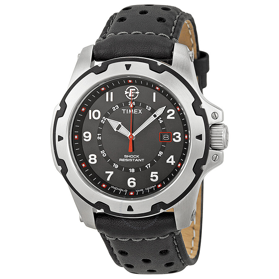 Timex expedition rugged field black dial black leather men 39 s watch t49625 timex watches for Expedition watches
