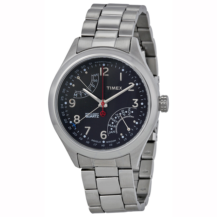 Perpetual Calendar Watches : Timex intelligent perpetual calendar black dial stainless