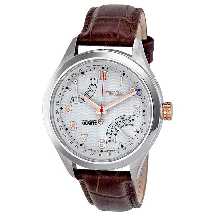 8cc94bad626 Timex Intelligent Perpetual Calendar White Dial Brown Leather Men's Watch  T2N504