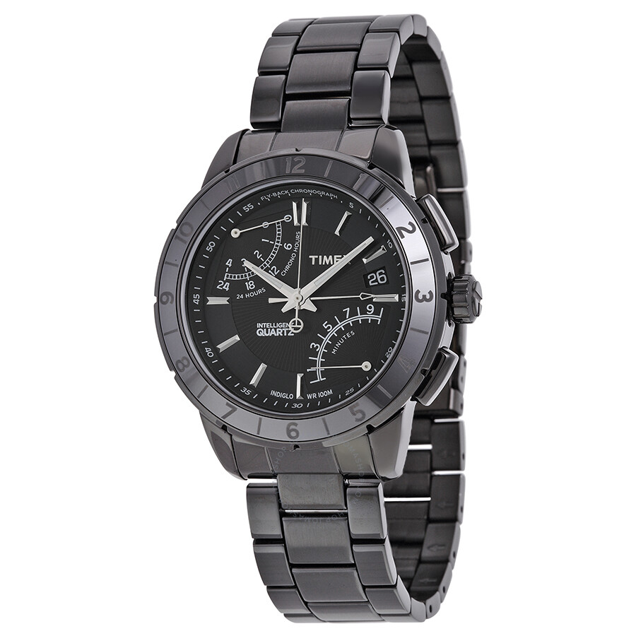 Timex iq fly back chronograph black dial black pvd stainless steel men 39 s watch t2n500 timex for Stainless watches