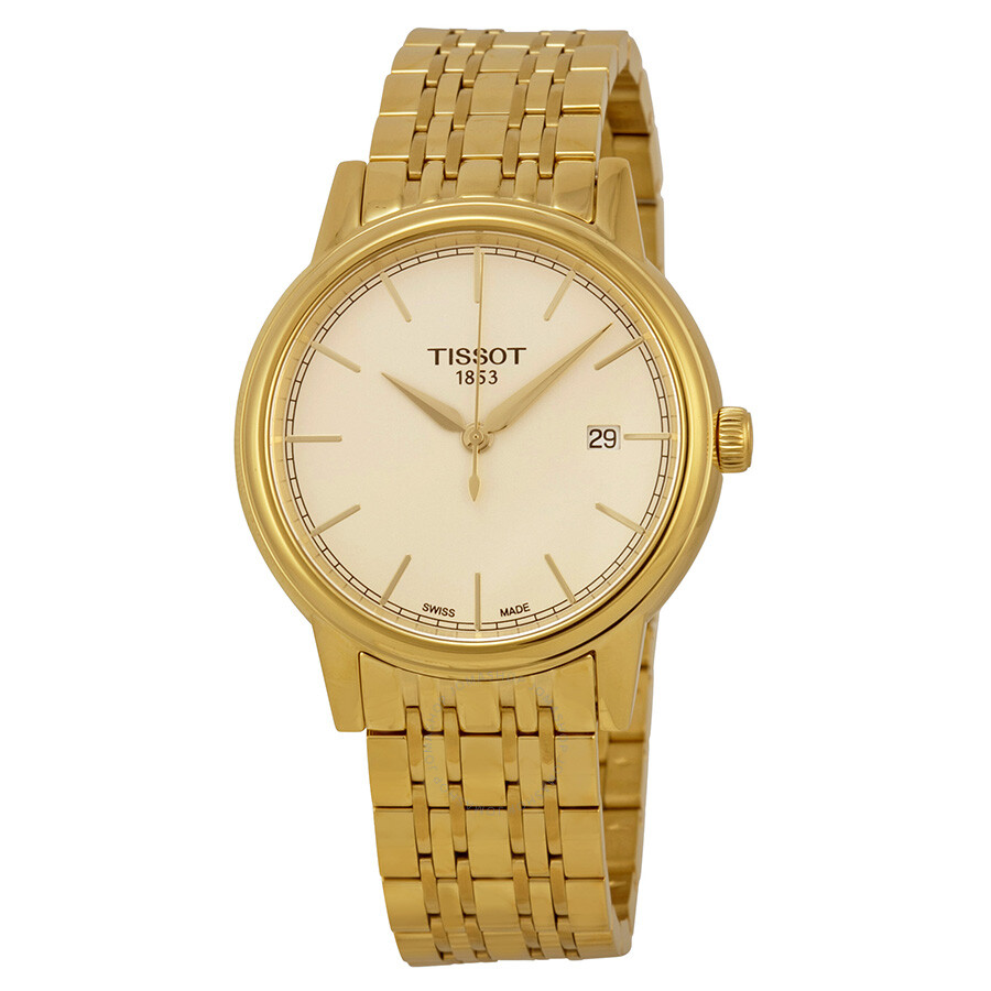 tissot carson chagne yellow gold plated s
