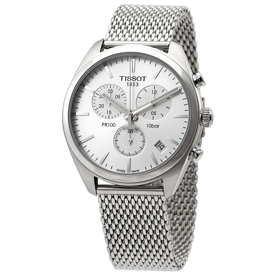 d4305236 Tissot PR 100 Chronograph Silver Dial Mesh Bracelet Men's Watch  T1014171103102