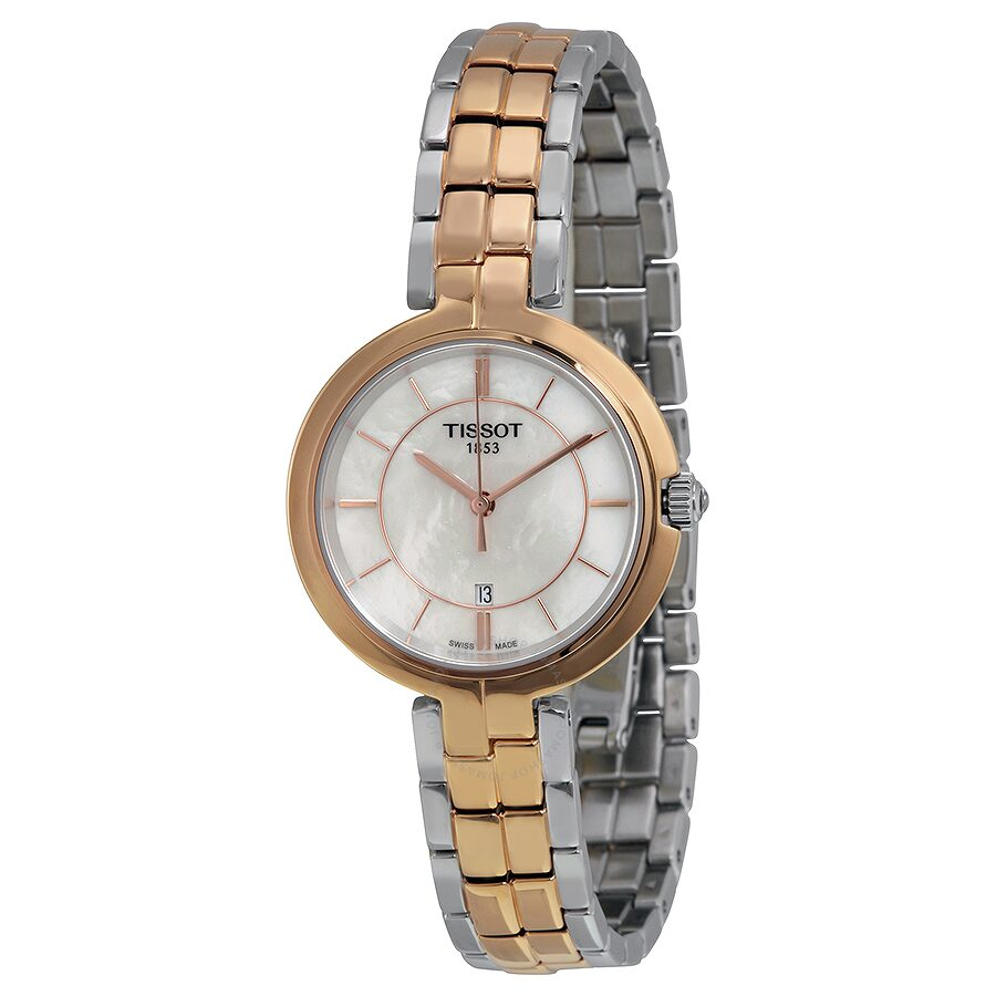 Flamingo Mother Of Pearl Dial Ladies Watch T0942102211100. by Tissot