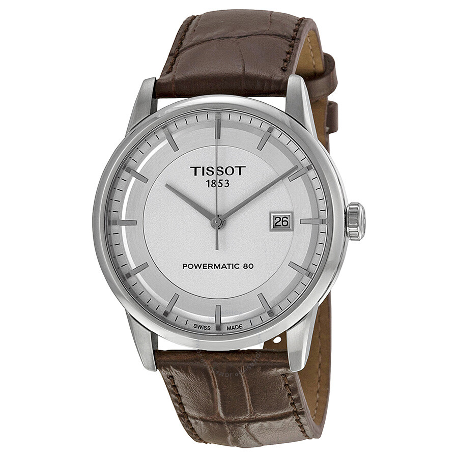 d1d46b248215b Tissot Luxury Powermatic 80 Automatic Silver Dial Brown Leather Men's Watch  T0864071603100 ...