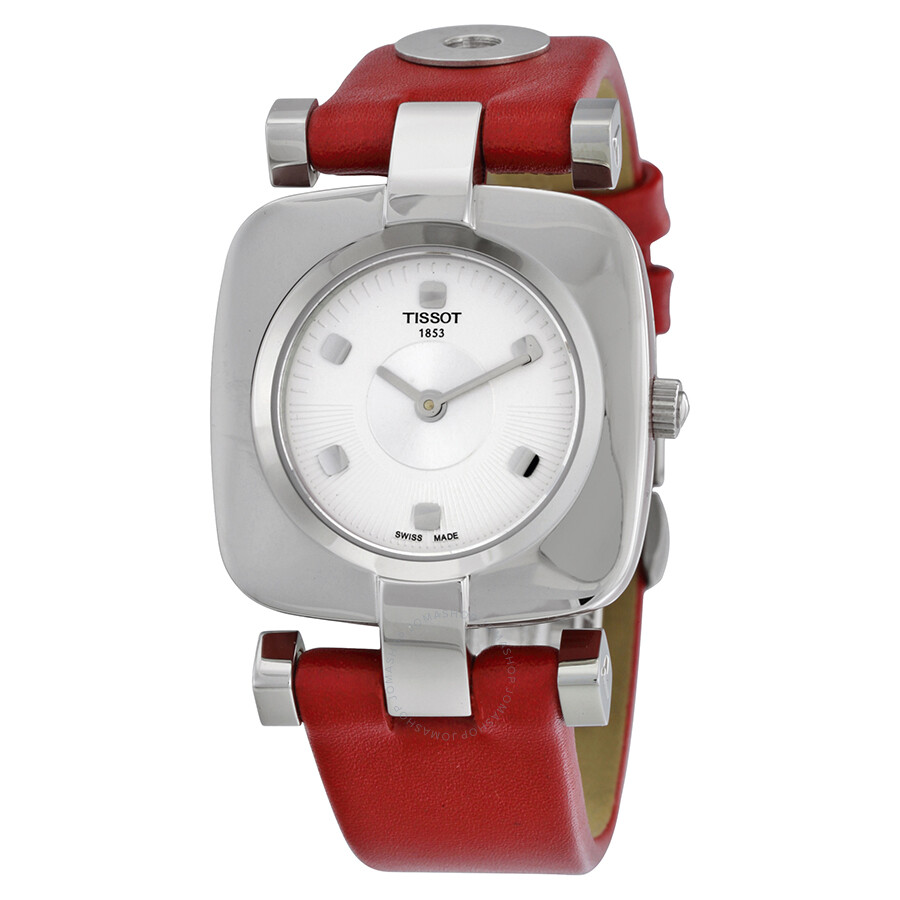 5fad23c60aa Tissot Odaci-T Silver Dial Pink Leather Ladies Watch T020.309.16.031.02 ...
