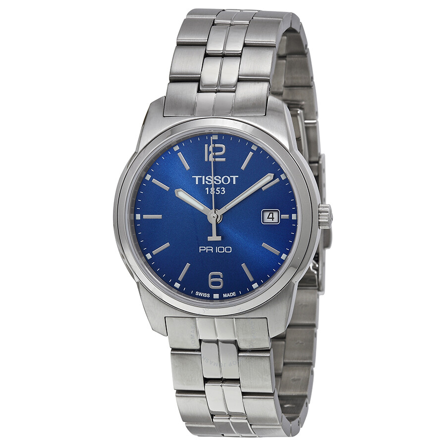 tissot pr 100 blue stainless steel s