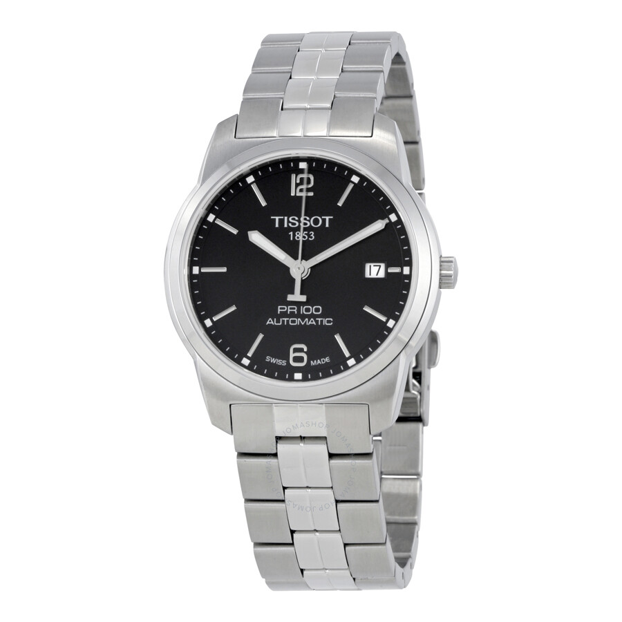 Tissot PR100 Automatic Black Dial Stainless Steel Men's Watch  T0494071105700 ...