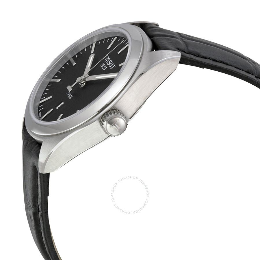 PR100 Black Dial Black Leather Ladies Watch T1012101605100