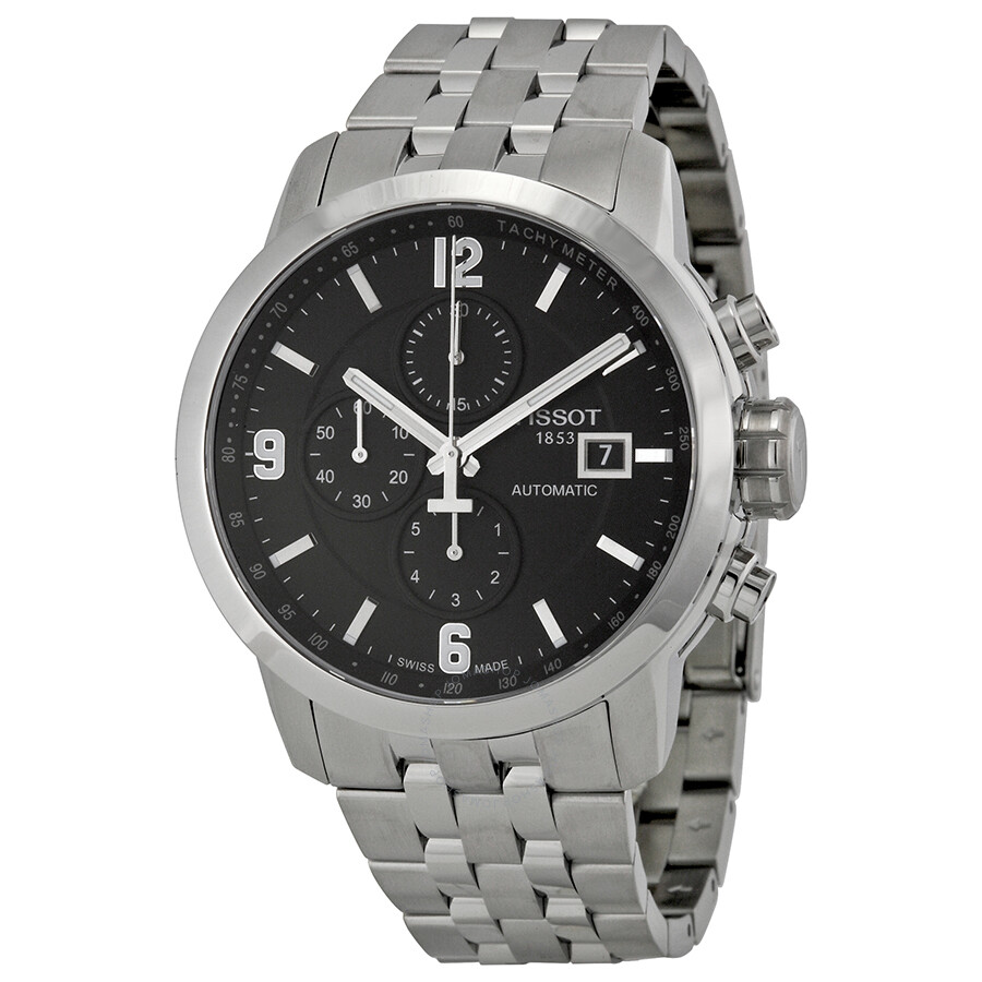 98cb5efd47d Tissot PRC 200 Automatic Chronograph Black Dial Stainless Steel Men s Watch  T0554271105700 ...