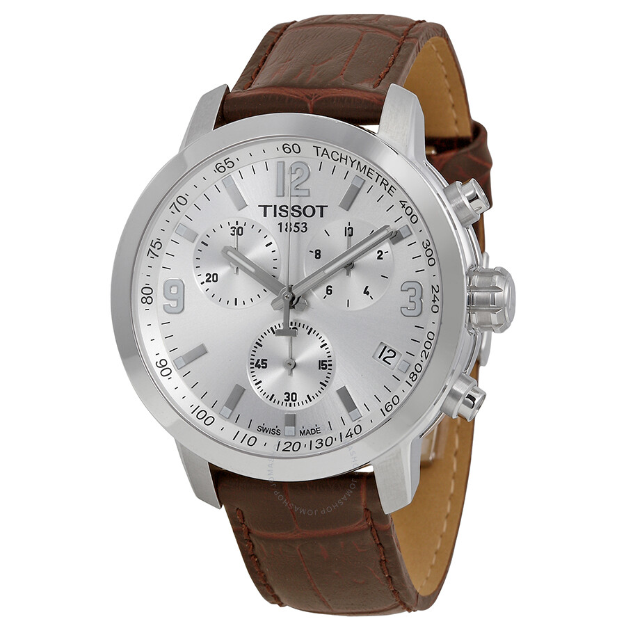 Tissot Prc 200 Chronograph Silver Dial Brown Leather Men S Watch T0554171603700